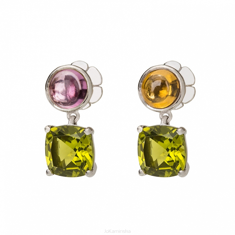 Peridot and Zircon and Garnet Earrings