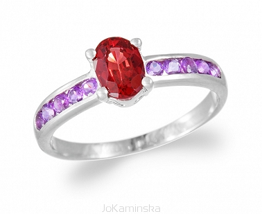 Simplicity Amethyst and Garnet Ring