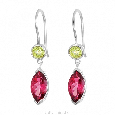 Simplicity Rhodolite Garnet with Peridot Earrings