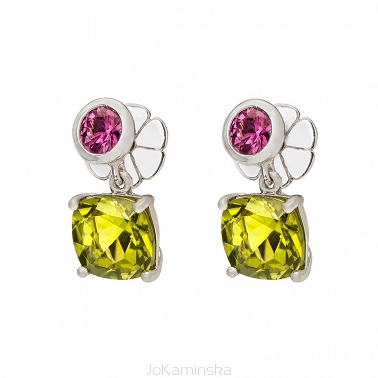 Peridot with Rhodolite Garnet Earrings