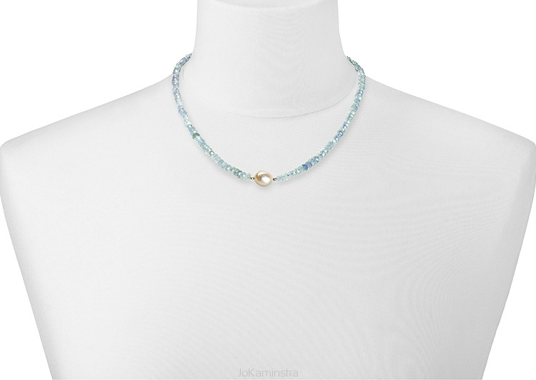 Simplicity Aquamarine with Pearl Necklace
