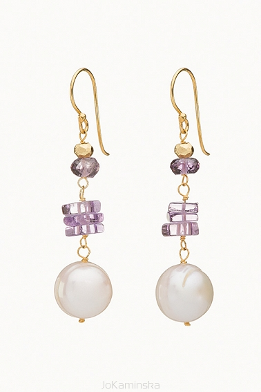 Infinity Semi-Baroque Pearl Earrings with Amethyst