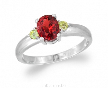 Simplicity Garnet with Peridot Ring