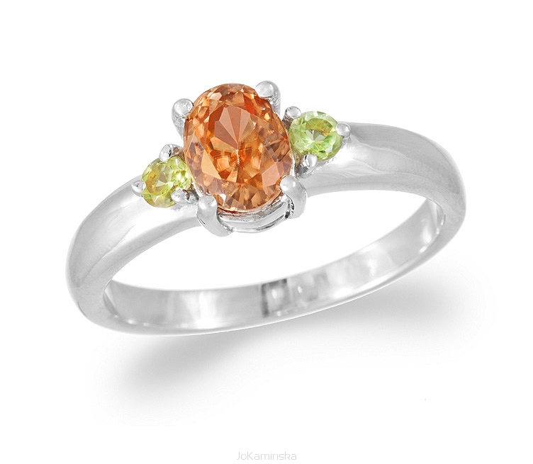 Simplicity Champagne Zircon with Peridot Ring