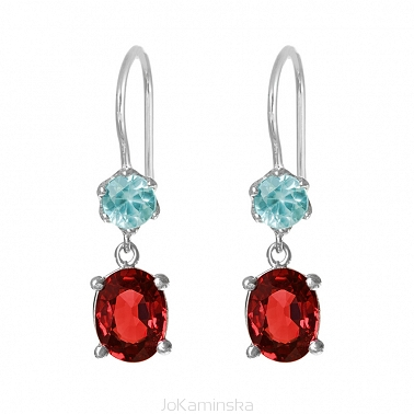 Simplicity Garnet with Blue Topaz Earrings