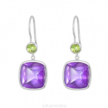 Simplicity Amethyst and Peridot Earrings
