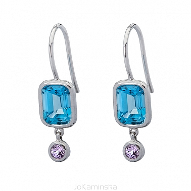 Blue  Topaz with Lavender Spinel Earrings