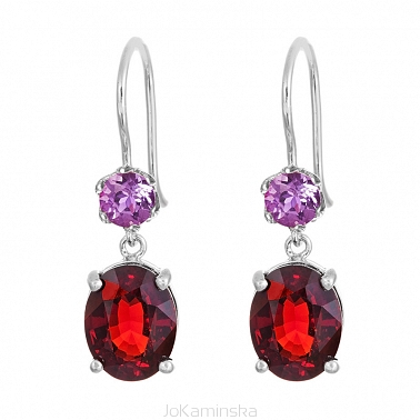 Simplicity Garnet with Amethyst Earrings