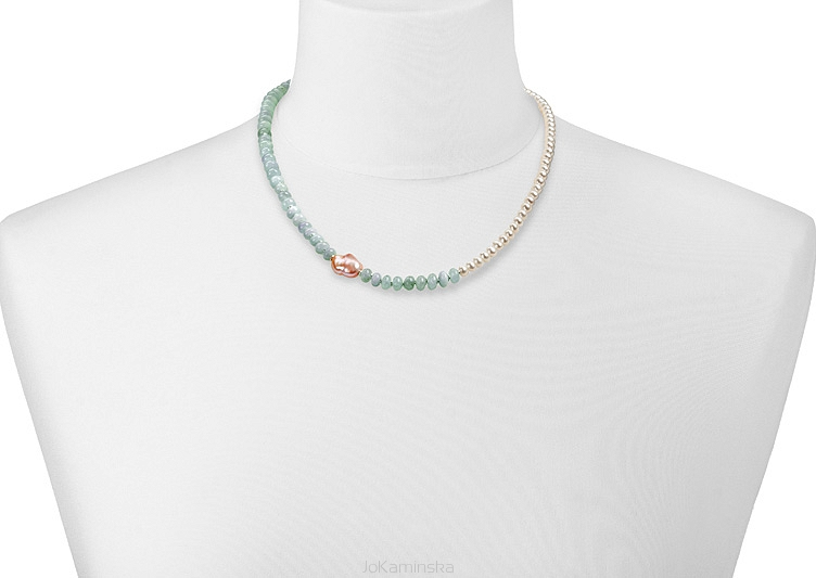 Simplicity Aquamarine with Pearls Necklace