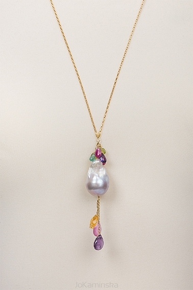 Baroque pearl and semi-precious stones necklace