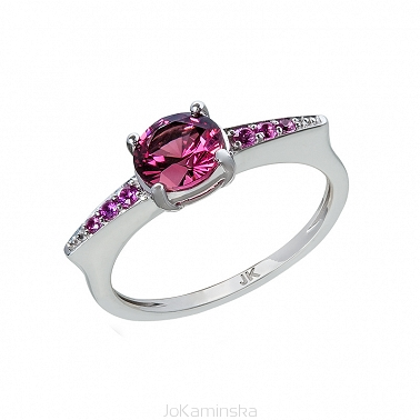 Rhodolite Garnet with Pink Sapphires Ring