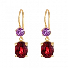Simplicity Garnet and Amethyst Earrings