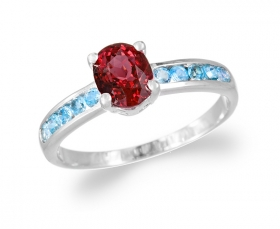 Simplicity Garnet with Blue Topaz  Ring