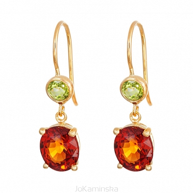 Simplicity Hessonite Garnet with Peridot Earrings