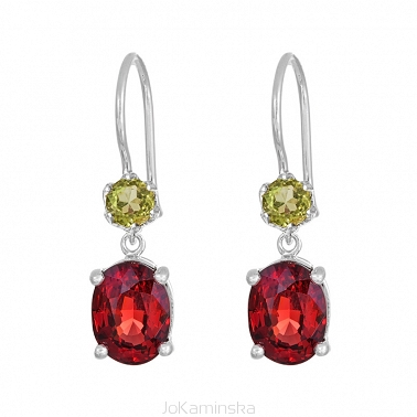 Simplicity Garnet and Peridot Earrings