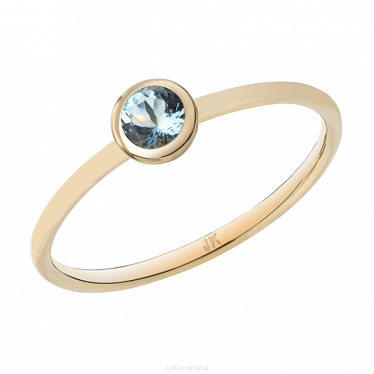 Confetti Gold Aquamarine Ring