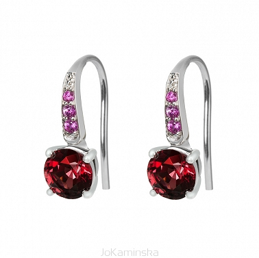 Rhodolite Garnet with Pink Sapphires Earrings